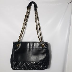 Vintage CHANEL Quilted Black Shoulder Bag